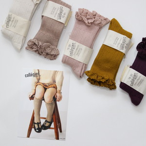 collegian  LACE TRIM KNEE-HIGHS SOCKS