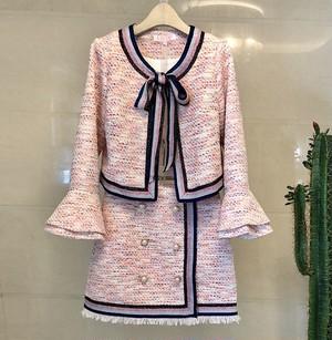 pink ribbon ツイード セットアップ リボン ジャケット ミニ スカート ハイウエスト パールボタン ツーピース スーツ トレンド オルチャン ガーリー 大人かわいい お出かけ デート お呼ばれ 4484