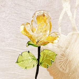 Item766 ヴェネチアンガラス ローズ ガラスの薔薇 金箔 クリスタル