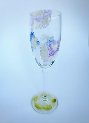 【紫陽花】5月の花 アジサイ絵付けシャンパングラス1個/父の日ギフト・誕生日プレゼント
