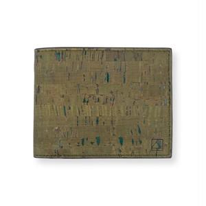 VEGAN MEN'S COIN WALLET  OLIVE/ 二つ折り財布 オリーブ コルク製 小銭入れ付き