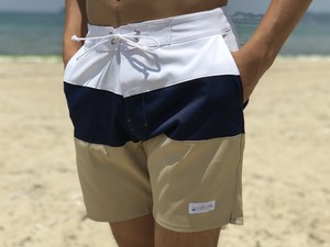 Threeborder Board Shorts(navy×beige)