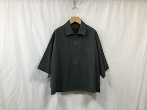 "bukht""HARF ZIP PULLOVER SHIRTS-GLEN CHECK FAB-CHARCOAL×BLACK"""