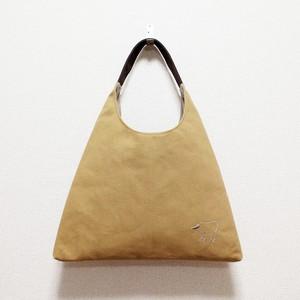 《受注制作》リラの帆布のワンハンドルさんかくバッグ/キャメル