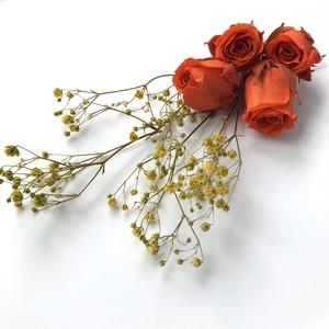 オレンジのバラとイエローのかすみ草