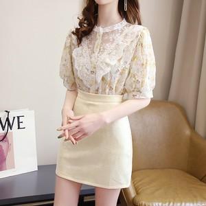 【2点セット】3色/シアーレース花柄トップス+ミニスカート ・14842