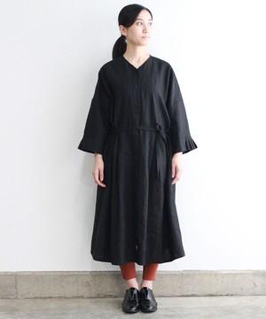 リネンタックカフスワンピースドレス(evi603 BLK・ブラック)
