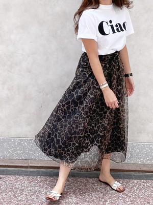 レオパードチュールスカート[Color:ブラウン]