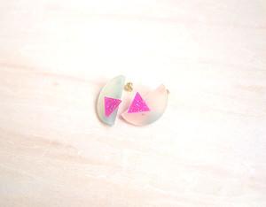 半円と三角のピアス (透明)