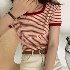 ストライプ Tシャツ おしゃれ 夏 人気 2色
