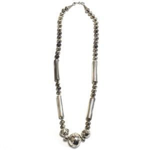 Navajo Vintage Sterling Silver Stamp Beads Necklace