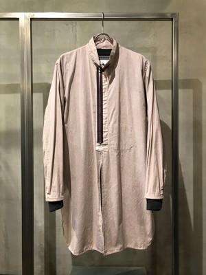 TrAnsference light cotton zip grandpa shirt - sand