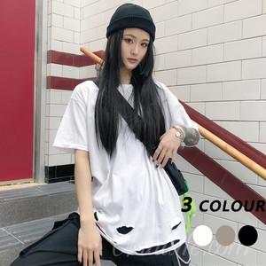 【トップス】ストリート系半袖ダメージ加工ラウンドネックTシャツ21668601