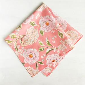 ハンカチ|Sweet Flowers バラとライラック(コーラルピンクピンク)ミニサイズ / コットン