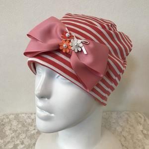 お花とリボンのケア帽子 オレンジ×白29
