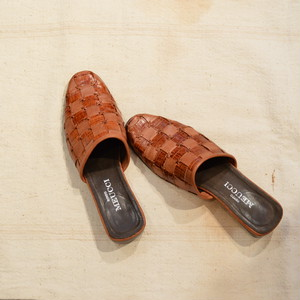 """""""made in italy"""" brown patchwork leather sabots sandal(b96)"""