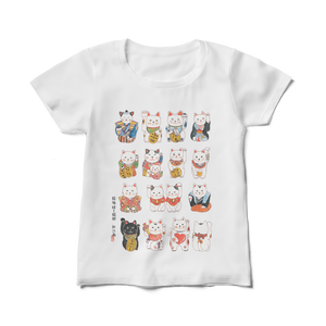 招き猫図Tシャツ( レディース)