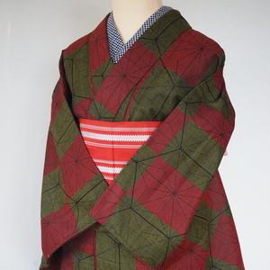 麻の葉模様シルクウール着物