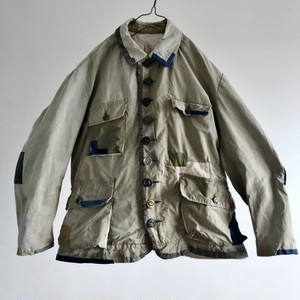 """1950-1960 Vintage French Manufacture """"toile Dickson"""" Cotton Canvas Hunting Jacket"""