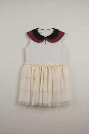 【20SS】ポぺリン Popelin double frill dress ワンピース beige  [ 18-24m / 3-4y / 5y / 7y ]