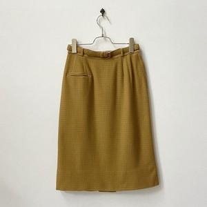 ヴィンテージ チェック柄 ウールスカート ベルト付き アメリカ古着 日本S〜M