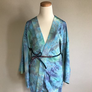 HAORI Silk sky blue × Beautiful pattern