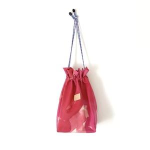 手染めの帆布きんちゃくバッグ / palette-pink