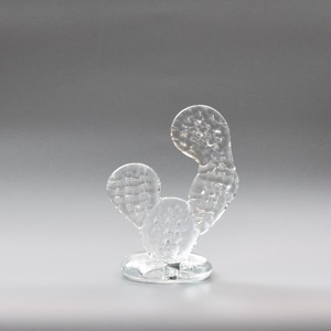 CACTUS GLASS ORNAMENT -clear-  (S)Round Fan サボテン グラスオーナメント