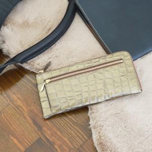 【NANIWAYA】エナメルクロコ・L型長財布(ブロンズ)