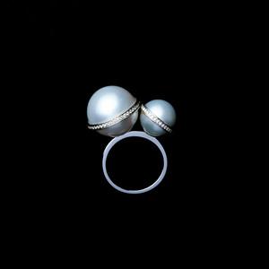 jg <Sphere> リング K18/ダイヤモンド/南洋真珠