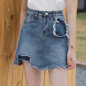 【ボトムス】ファッションダメージ不規則ショートスカート