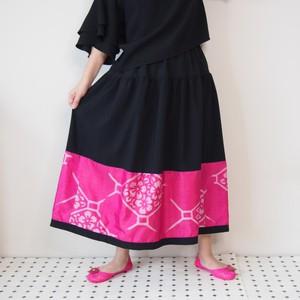 HAREGI SKIRT -ヴィンテージの銘仙の着物地を使ったフレアスカート [ロング/ピンク]