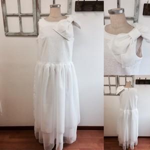大人のシンプル花嫁❤️2wayリボンつきレースとチュールの二次会ウェディングドレス(サイズフリーLサイズ)11号〜13号の方