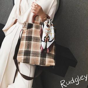 スカーフ付き チェック ショルダー 2way bag バッグ キャンパス エルメス風