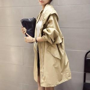 【outer】コートフード付きファッション長袖無地レディースアウター