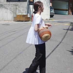 バックスタイルも可愛く!切り返しTシャツ トップス レディース 半袖【メール便可】