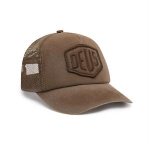 DEUS EX MACHINA デウスエクスマキナ Shield Trucker Cap シールドトラッカー ロゴキャップ ブラウン