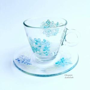【母の日ギフト】青アジサイ紫陽花あじさい耐熱ガラスのコーヒーカップ・ティーカップ|父の日ギフト・結婚祝い・還暦祝い・退職祝い・誕生日プレゼント・両親贈呈品・新居祝い・結婚記念日