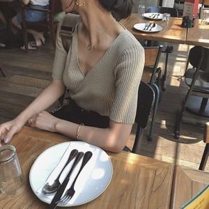 【送無】*予* 3color:Cache-coeur Summer Knit Tops  カシュクール サマーニット トップス  送料無料