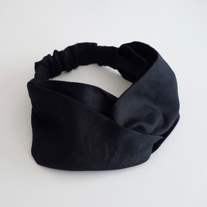 リネンのヘアバンド cross 黒(モードな黒)