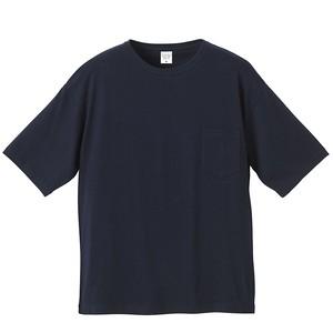 ビックシルエット Tシャツ(ポケット付) 無地 5.6オンス  ネイビー