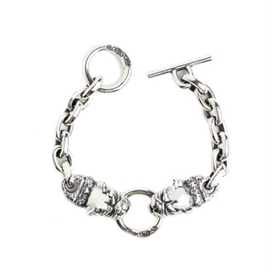Gaboratory/ガボラトリー 2Bulldog heads with chiseled neck&small oval links bracelet