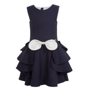 【NEW】PETAL DRESS NAVY DOTS