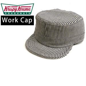 【即納】ワークキャップ 帽子 アメリカンロゴ ロゴワッペン Krispy Kreme ヒッコリーストライプ カンパニーロゴ z-136-4