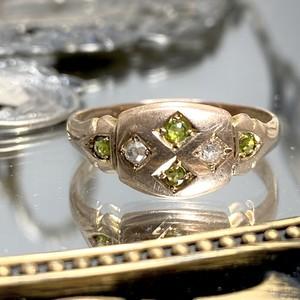 イギリス1910年製アンティークリング K9  指輪 ペリドット ダイヤモンド