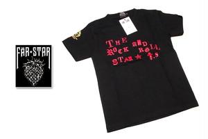 小柄な女性向き|激レアロックTシャツ|FAR★STAR|新品|ロゴ&ゴールドクラウンドクロ(ロゴ:レッド)デザインTシャツ(ブラック)|サイズ:SSサイズ程度)