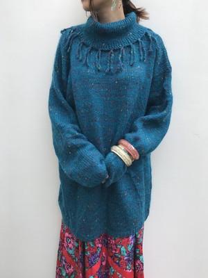 Vintage blue fringe knit tops ( ヴィンテージ ブルー フリンジ ニット トップス