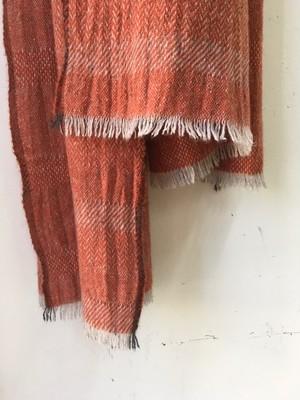 "DA'S / Cashmere Sable Scarf ""abstract check pattern/orange""(ダズのカシミアセーブル素材のマフラー/オレンジ)"