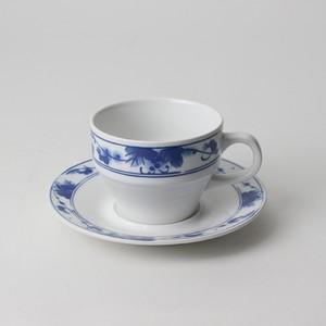 【SL0041】磁器 コーヒーソーサー 白×ブルー