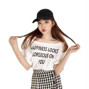 レディース tシャツ Tシャツ ロゴ オフショル 安い 白 ホワイト ブラウス 春 夏 半袖 五分袖 肩出し トップス カットソー 韓国 ビッグTシャツ ゆったり レディースファッションf9001